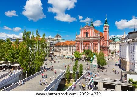 Tér Szlovénia Európa romantikus város központ Stock fotó © kasto