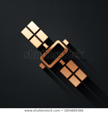 Antena satelitarna podpisania złoty wektora ikona projektu Zdjęcia stock © rizwanali3d