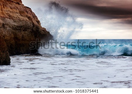 atlantic waves crashing against the cliffs stock photo © morrbyte