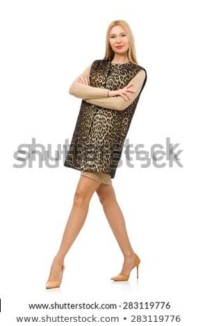 Csinos fiatal nő leopárd mellény izolált fehér Stock fotó © Elnur
