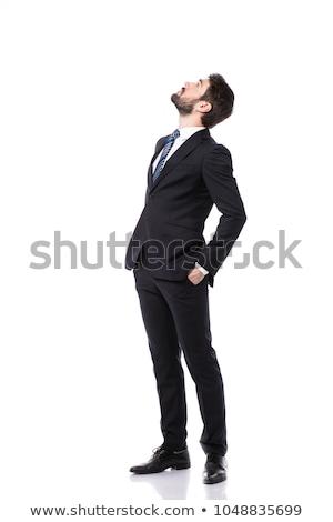 üzletember öltöny felfelé néz karok ki fehér Stock fotó © wavebreak_media