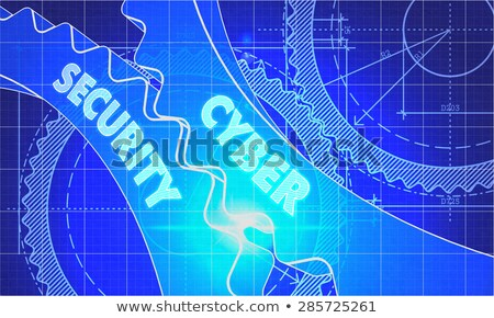 Cyber Security on the Cogwheels. Blueprint Style. Stock photo © tashatuvango