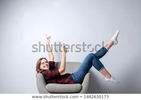 oturma · hip-hop · kız · bacak · yukarı · moda - stok fotoğraf © feedough