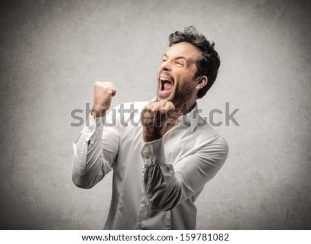 счастливым · человека · лице · работу · фон · бизнесмен - Сток-фото © Patramansky