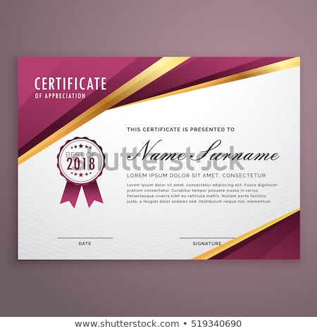 Modern Certificate Template Design With Golden Stripes Vector