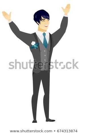 成功した アジア 花婿 ジャンプ 腕 ストックフォト © RAStudio
