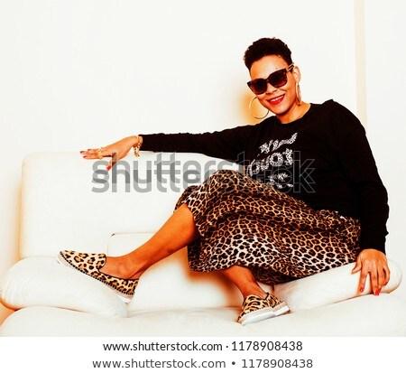pretty stylish african american big mama woman well dressed. swa Stock photo © iordani