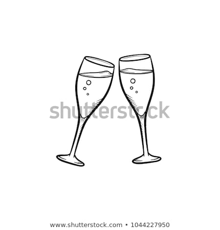 シャンパン · 眼鏡 · 手描き · スケッチ · アイコン - ストックフォト © rastudio
