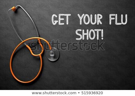 chalkboard with get your flu shot concept 3d illustration stock photo © tashatuvango