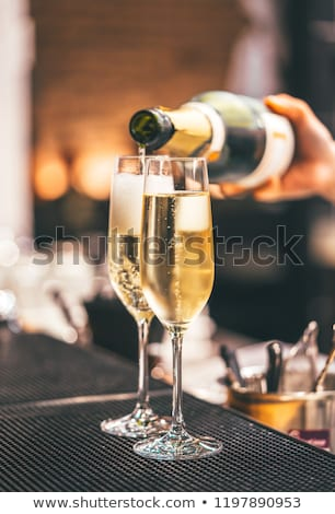 champagne · fles · glas · zwarte · abstract - stockfoto © boggy