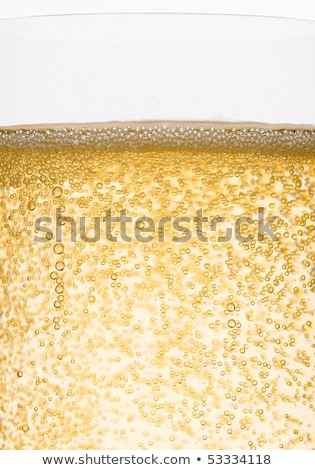 bottle and glass of yellow champagne with bubbles stock photo © denismart