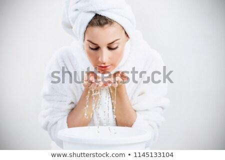 attractive brunette girl over water drops stock photo © neonshot