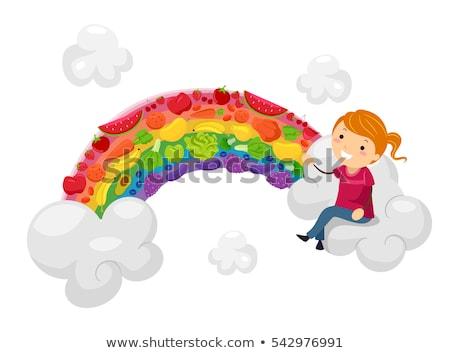 Stickman Kid Girl Rainbow Fruits Veggies Stock photo © lenm