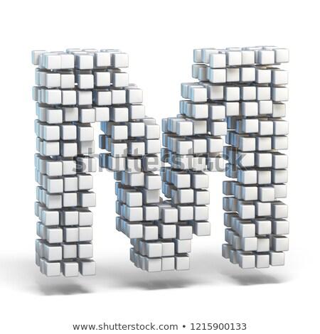 White voxel cubes font Letter M 3D Stock photo © djmilic