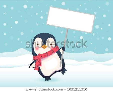 Desenho animado pinguim assinar ilustração Foto stock © cthoman