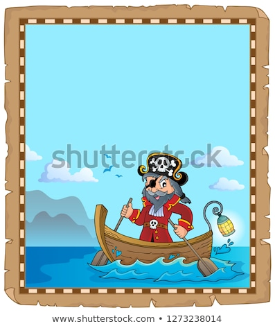 Pirate in boat topic parchment 2 Stock photo © clairev