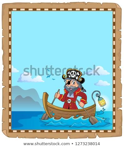 羊皮紙 · 海賊 · ボート · 男 · 木材 · 海 - ストックフォト © clairev