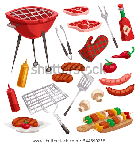 bbq barbecue flatware icons vector illustration stock photo © robuart
