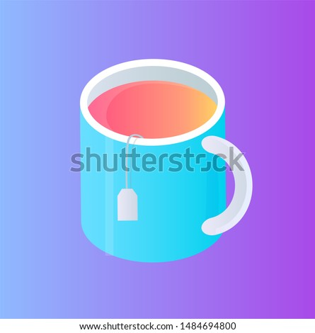 Glass Cup with Tea Pocket Isolated Cartoon Icon Stock photo © robuart