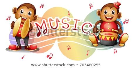 Dwa muzyki zauważa ilustracja muzyki tle Zdjęcia stock © colematt
