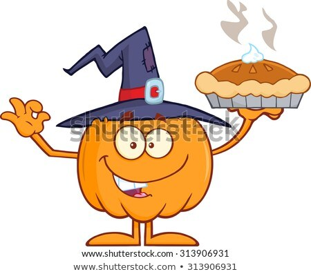 Smiling Witch Pumpkin Cartoon Character Holding Up A Pie Stock photo © hittoon