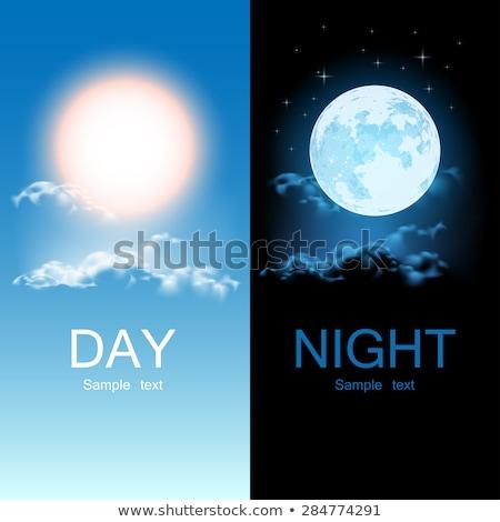 Foto stock: Dia · noite · sol · lua · ilustração · fundo