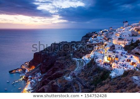 Santorini Görögország kikötő ház természet kék Stock fotó © neirfy