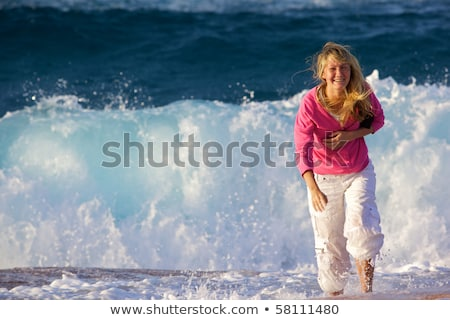 sörf · kız · genç · plaj · sörf · su - stok fotoğraf © elenabatkova