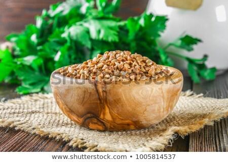 Fém merítőkanál gabona szürke háttér konyha Stock fotó © Melnyk