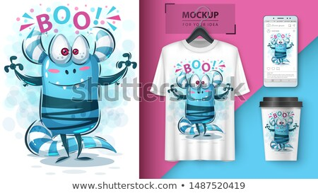 cute monster hello   mockup for your idea stock photo © rwgusev