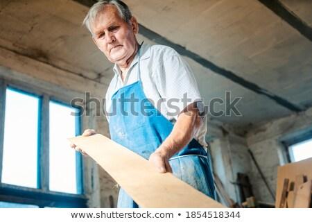 Experienced carpenter checking if plank is plane Stock photo © Kzenon