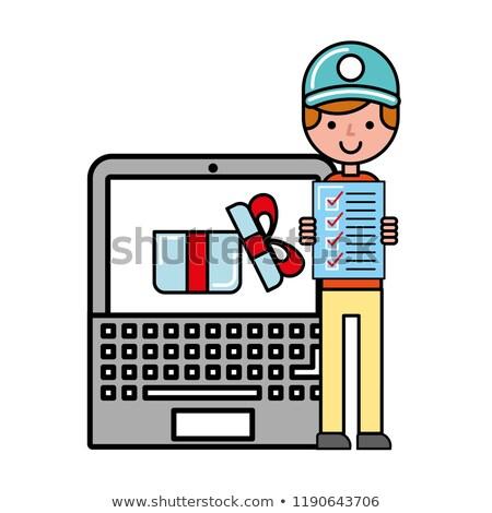 Operatör dizüstü bilgisayar kontrol liste hediye online alışveriş Stok fotoğraf © yupiramos