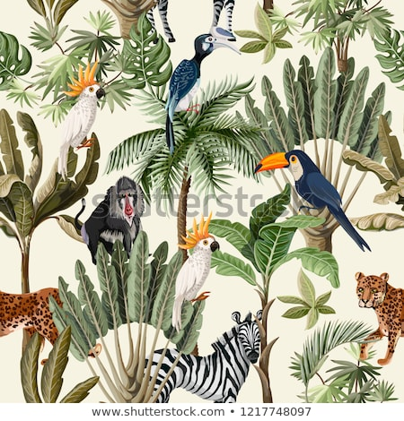 Wild animal and tree seamless pattern Stock photo © bluering