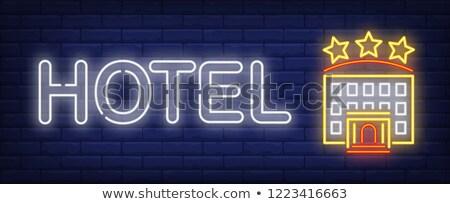 Illustration of hotel signboard icons Stock photo © nickylarson974