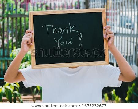schrijven · dank · u · Blackboard · hand · communicatie · zwarte - stockfoto © latent