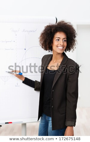 Confident businesswoman standing in front of a flip chart Stock photo © photography33