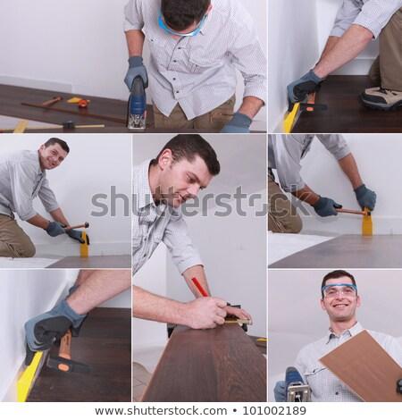 Mosaic of man laying laminate flooring Stock photo © photography33