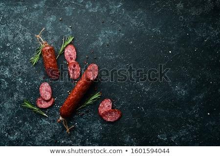 különböző · szeletel · kolbászok · közelkép · étel · piros - stock fotó © shutswis