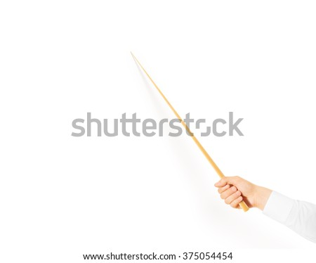 Stock photo: Man hand holding a pointing stick to an empty board