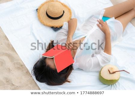gyönyörű · nő · vörös · ruha · part · jacht · nő · víz - stock fotó © acidgrey