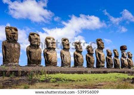 estatua · puesta · de · sol · Isla · de · Pascua · Chile · cielo · océano - foto stock © adrenalina