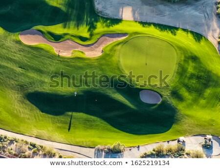 Stock fotó: Golf · zöld · tél · naplemente · égbolt · hó