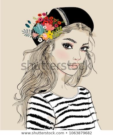 gyönyörű · lány · kalap · virágok · gyönyörű · divat · nők - stock fotó © carodi