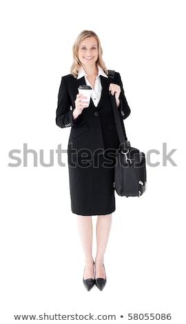 Geschäftsfrau lächelnd Aktentasche weiß Lächeln glücklich Stock foto © wavebreak_media