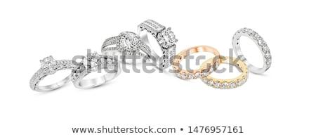 arany · gyűrű · izolált · vágási · körvonal · terv · művészet - stock fotó © jonnysek