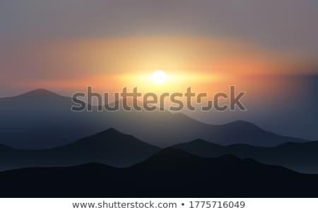 日没 山 ロマンチックな 表示 空 自然 ストックフォト © Discovod