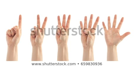 Női kezek szám három izolált fehér Stock fotó © oly5