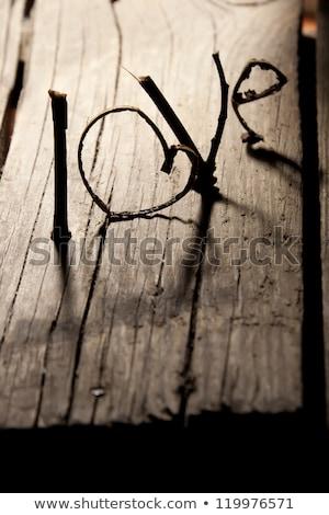 言葉 愛 古い木材 表 手紙 ストックフォト © inxti