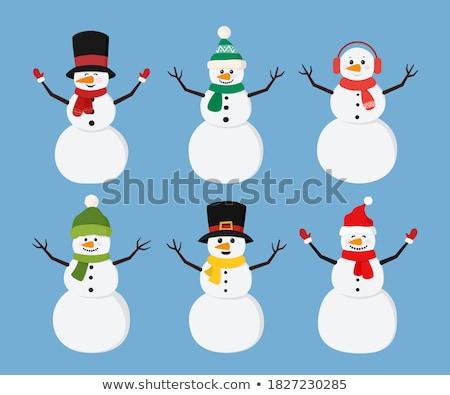снеговик парка Hat белый скульптуры шарф Сток-фото © Ionia