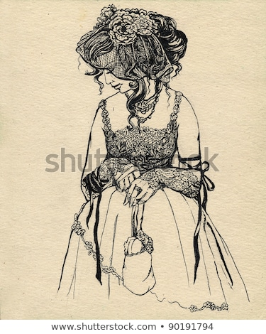 女性 · 帽子 · ベール · コルセット · 若い女性 · 黒 - ストックフォト © courtyardpix